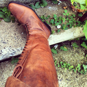 Beautiful Vintage Genuine Leather Boots, Brown, Laced, Tie Up, Knee High (Women's US Size 9)
