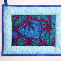 Oversized Quilted Pot Holder / Hot Pad  Blue and by nhquiltarts