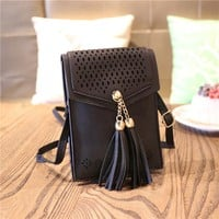 Women Mini Crossbody Bag Tassel Messenger Bag Cell Phone Purse Wallet Fit for iPhone 6s 7 Plus X 8 8 Plus