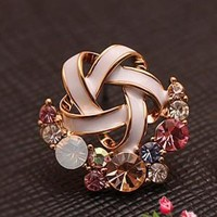 Fashion Flower Crystal Earring Studs