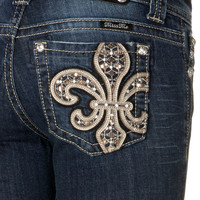 Diamond Pattern Gold Insert Boot Cut