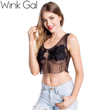 Wink Gal Fashion 2015 Comfortable Ultra Thin Vest Lace Push Sexy Tees White Crop Tank Sexy Tops 1661