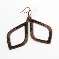 SALE - Antiqued Copper Hammered and Studded Texture Metal Drop Earrings - Long Teardrop Earrings - Ready to Ship