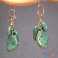 """Clusters of dangling smooth oval turquoise, 1-3/4"""" Earring Gold Or Silver"""