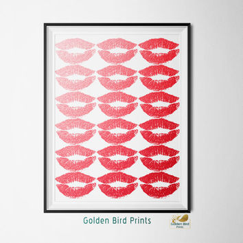 Red Foil Lips - Printable Wall Art - Art Print - Digital Art Printable - Home Decor - Instant Download