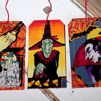 Halloween Fabric Tags Original Handmade Trick or Treat Party Favor Tie Ons Gift Wrap Tags Place Setting Card Labels itsyourcountry