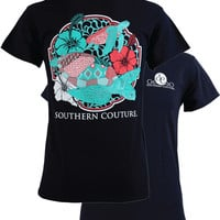 SALE Southern Couture Preppy Swimming Sea Turtles Flowers Beach T-Shirt