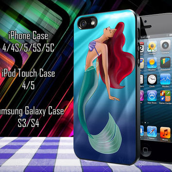 Ariel The Little Mermaid On Tiffany Blue Samsung Galaxy S3/ S4 case, iPhone 4/4S / 5/ 5s/ 5c case, iPod Touch 4 / 5 case