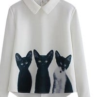 Newest New Fashion Clothes Shirts Office Ladies Work Wear White Lapel Long Sleeve Cats Print Blouse
