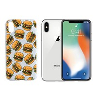 Fast Food Hamburger Pattern Clear Transparent Plastic Phone Case for iphone X SUPERTRAMPshop (iphone X)