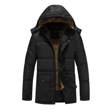 Middle Age Men's Thick Fleece Lining Warm Winter Coat Outerwear Men Thickening Cotton Wadded Jackets with Hood