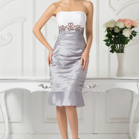 Gray Strapless Floral Embellished Ruffled Mini Dress With Shrug