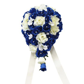 Cascade Bouquet - Royal Blue and White or Ivory Artificial Roses with Hydrangea and Bling