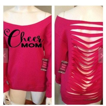 Fashion Vixen Cheer Mom Off the Shoulder Long Sleeve Sweatshirt Slashed or Solid Back Pink S M L XL Plus Size 1x 2x 3x 4x 5x