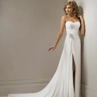 2011 Maggie Sottero Bridal - Ivory Chiffon Gathered Strapless Sweetheart Marion Wedding Gown - 0 - 28 - Unique Vintage - Bridesmaid & Wedding Dresses