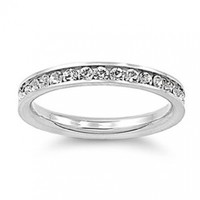 Stainless Steel Eternity Simulated Cz Wedding Band Ring 3mm Sz 3-10; Comes With FREE Gift Box (6)