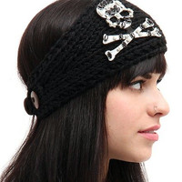 "Women's ""Skull Face Rhinestones"" Knit Headband"