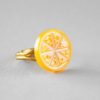 Orange Fruit Ring: Adjustable Gold Band, Summer Citrus, Kawaii Fruit Jewelry
