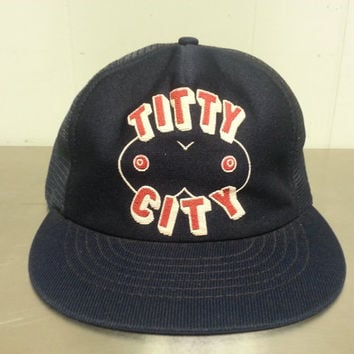 Vintage 80's Titty City Novelty Mesh Trucker Dad Hat Funny Golf Cap Hipster Style Naughty
