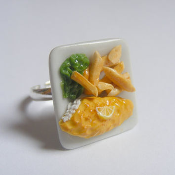Fish, Chips and Peas Miniature Food Ring - Miniature Food Jewelry