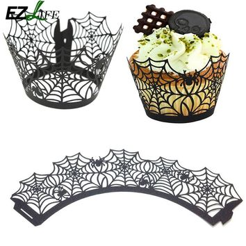 Free Shipping 12pcs black Spider Web halloween Laser Cut Cupcake Wrapper muffin cup cake case liner holder decoration MJ01075