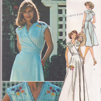 Vintage 1970s sleeveless wrap dress pattern with iron on embroidery transfer knee or floor length misses size 12  bust 34 Vogue 1429 UNCUT
