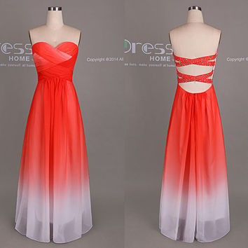 Red Ombre Long Chiffon Bridesmaid Dress/Open Back Bridesmaid Dress/Unique Summer Reception Dress/Beach Wedding Party Dress  DH423