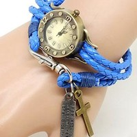 Retro Classical Cross Multi-layers Leather Strap Wristwatch from perfectmall