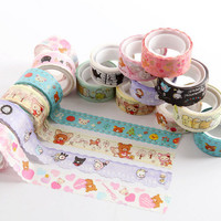 Cute Rilakkuma Cartoon Animals Washi Tape Adhesive Masking Tape Decorative DIY Stick Label Escolar Papelaria