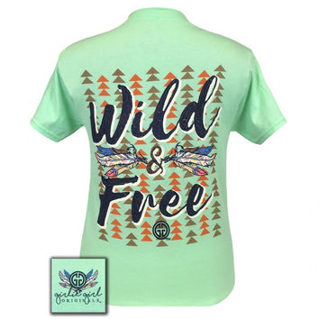 Girlie Girl Originals Southern Wild and Free Feathers T-Shirt