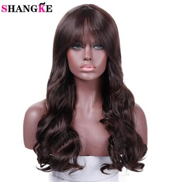 SHANGKE Long Wavy Cosplay Brown Synthetic Hair Wigs For African Americans Heat Resistant Hair Costume Wigs
