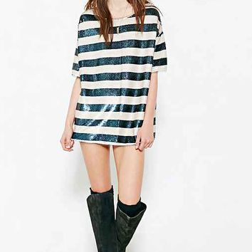 Silence + Noise Striped Rocker Sequin Tee- Blue