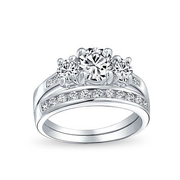 3CT Solitaire 3 Stone CZ Engagement Wedding Ring 925 Sterling Silver