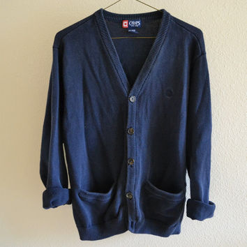 Navy Blue Cardigan Sweater Vintage Oversized 90s L