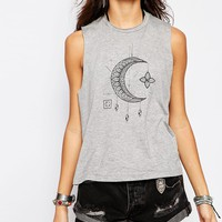 Lira Festival Muscle Tank Vest With Crescent Moon Print