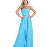 Turquoise Pleated Chiffon Strapless Sweetheart Gown 2015 Prom Dresses