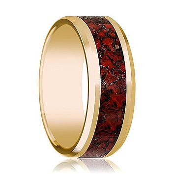 ISLA 14k Yellow Gold Wedding Band for Men with Red Dinosaur Bone Inlay & Beveled Edges - 8MM