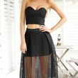 Black Strapless Crop Top With High Waisted Midi Skirt