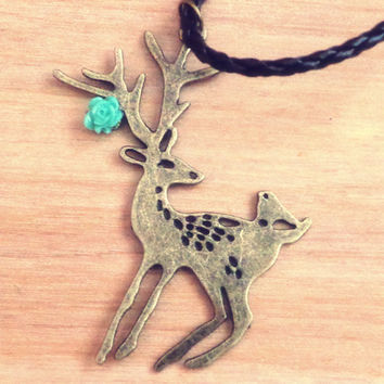 Handmade Necklace with Deer / Buck Charm on Brown Leatherette Cord