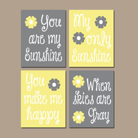 Yellow Gray You Are My Sunshine Purple Flower Wall Art Girl Artwork Nursery Rhyme Quote Baby Song Set of 4 Prints Baby Crib Decor