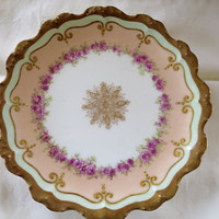 2 Limoges France Dessert Plates B & H China Limoges France for Sol. Marks Lawrence KS Jewelry Store Heavy Gilt Edge, Roses Center Decal