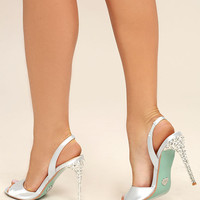 Betsey Johnson SB-Naomi Light Blue Satin Peep-Toe Heels