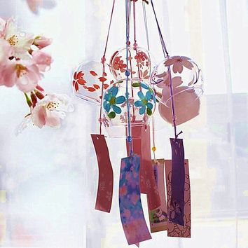 Decoration Crafts Japanese Traditional Glass Wind Chimes Bell Furin Cherry Blossom Sakura Gift Lucky Wind Chimes