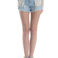 Lace Patched Distressed High Rise Denim Short