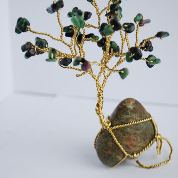 Ruby Zoisite Brass Wire Tree of Life Art, Wire Gemstone Tree, Brass Mix Media Sculpture, Green Gem Tree