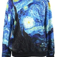 ImJoy Neon Galaxy Cosmic Colorful Patterns Print Sweatshirt Sweaters (Free size, Starry Starry Night)
