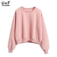 Ladies Round Neck Long Sleeve Pink Tops Fall New Style Cute Pullovers Loose Sweatshirt
