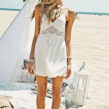 White Lace Patchwork Strappy Chiffon Sundress