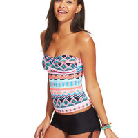Hobie Mixed-Print Twist-Front Tankini & Boyshort Swim Bottom