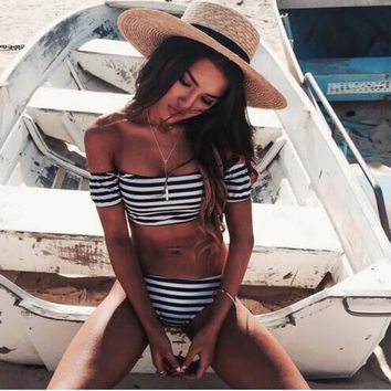 FASHION STRIPE TWO PIECE OFF SHOULDER BIKINIS SWIMWEAR BATHSUIT